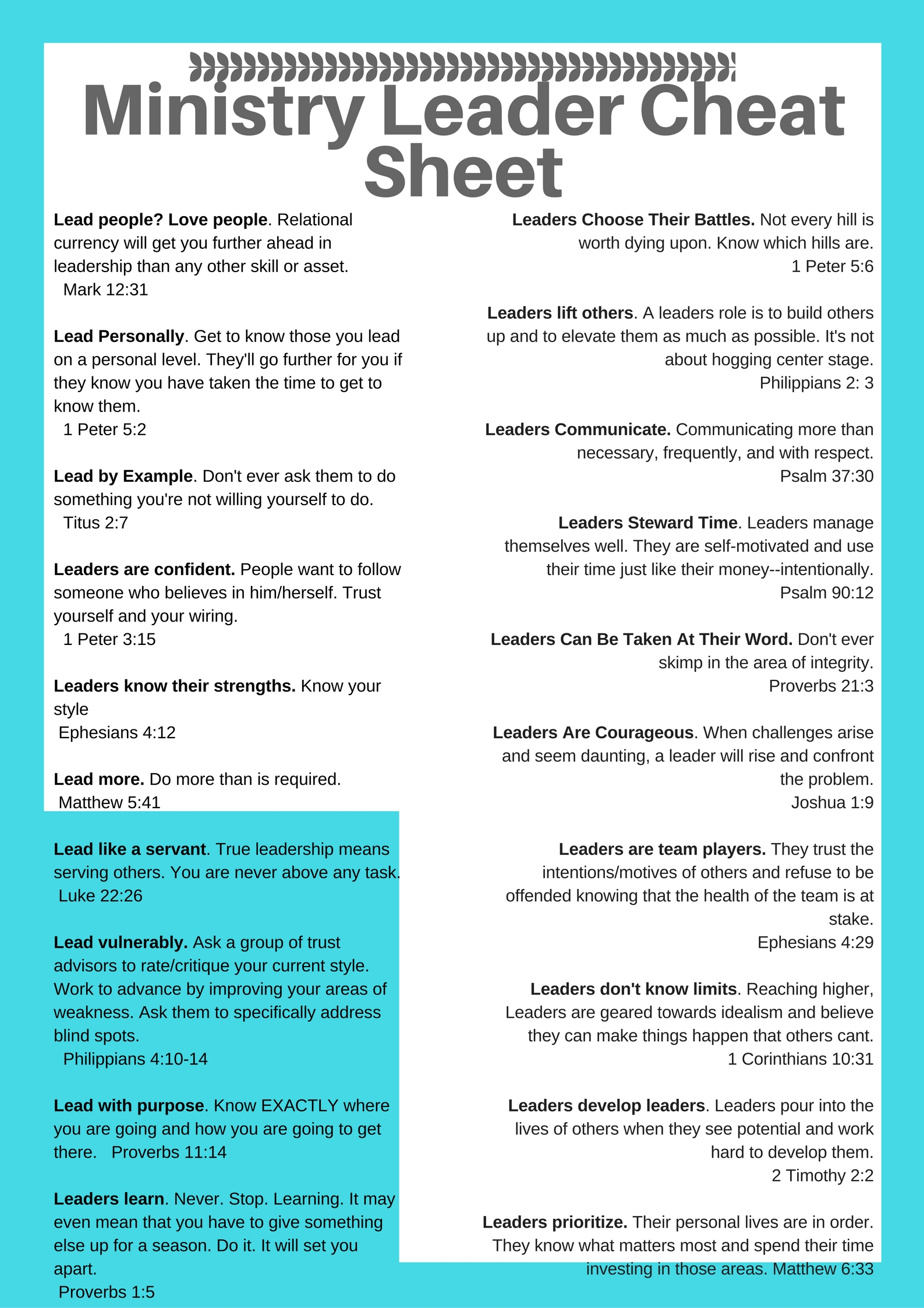 ultimate ministry leader cheat sheet lead print